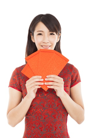 asian woman holding red bag for happy chinese new year Stock Photo - 21512586