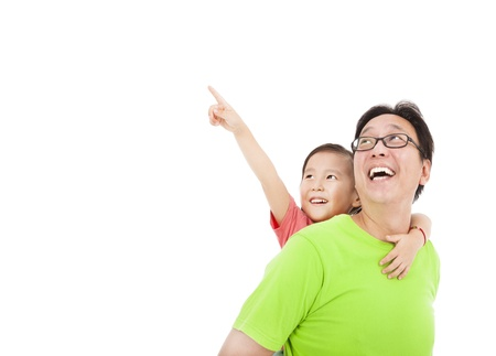 lifestyle: Happy father and daughter looking and pointing  Stock Photo