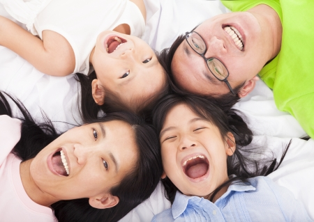 asian woman face: Happy   family on the floor  Stock Photo