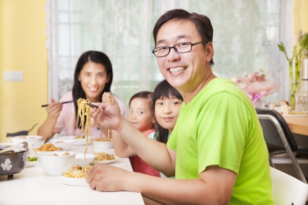 noodle bowl: happy  Family  Eating noodles at home