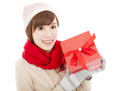 happy  young woman showing  gift box Stock Photo - 22483578