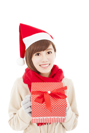 happy asian young woman with christmas gift box Stock Photo - 22483579