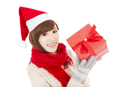 happy young woman with christmas gift box Stock Photo - 22483580