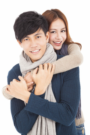 happy young couple hugging together photo