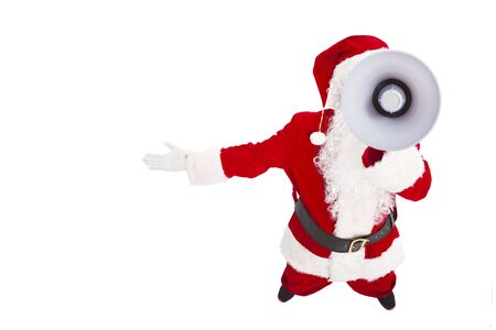 Santa Claus talking with megaphone photo