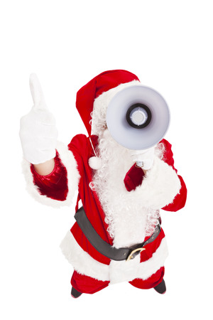 Santa Claus holding megaphone with thumb up photo