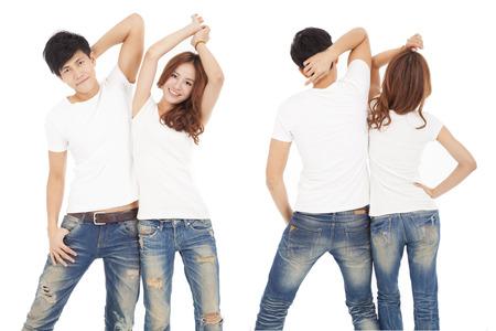 흰색 T 셔츠와 전면 및 후면보기 행복한 커플 스톡 콘텐츠