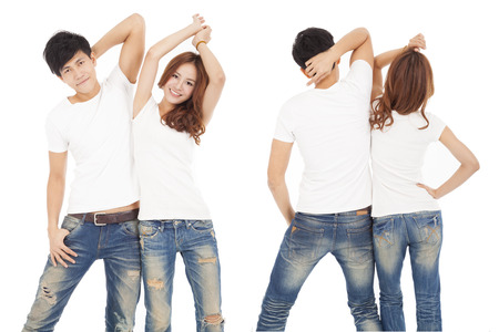 t shirt white: front and rear view happy couple with white t shirt