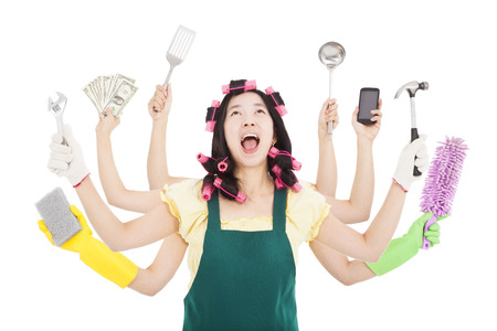 moe en drukke vrouw met multitasking-concept Stockfoto