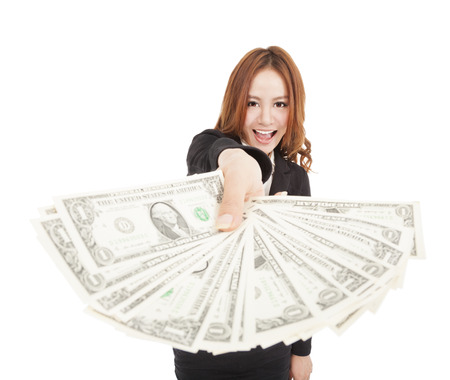 happy business woman showing the money photo