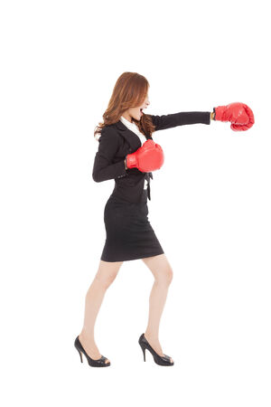 red competition: Business woman boxing and competition concept