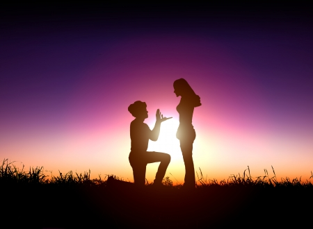 proposes: man proposes a woman to marry with sunrise