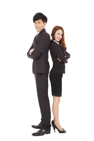 full length: lengte lachende full business man en vrouw samen