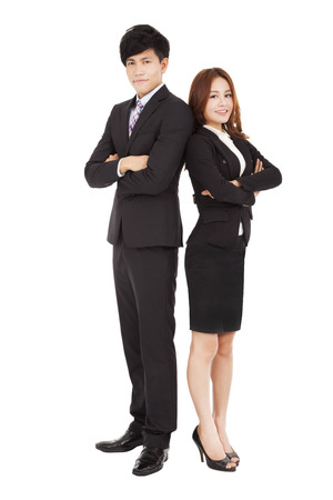 full length smiling business man and woman photo