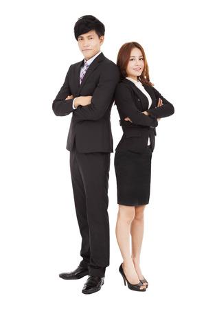 full length: lengte lachende full business man en vrouw Stockfoto