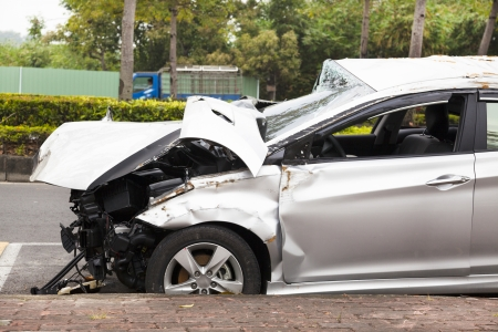scrap car: car accident and  wrecked car on the road
