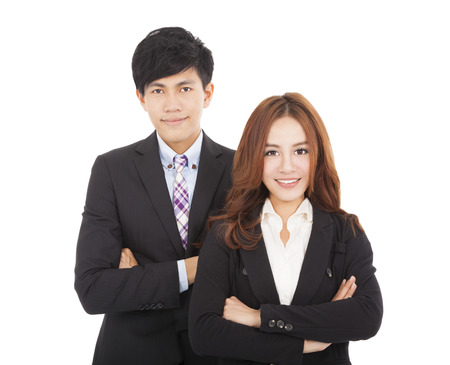 women and men: young smiling businessman and businesswoman