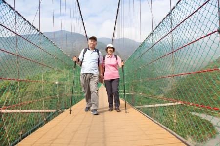 elderly couples: happy senior couple walking on the bridge in the nature park
