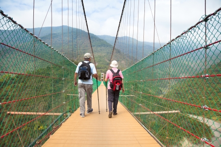 active retirement: happy senior couple walking on the bridge in the nature park