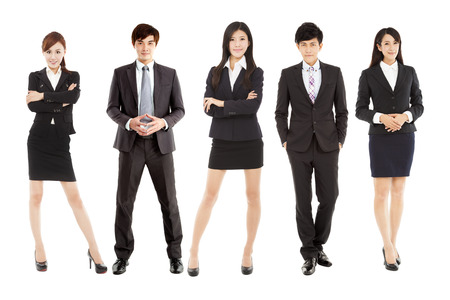 business smile: exitoso equipo de negocios joven asi�tico de pie juntos
