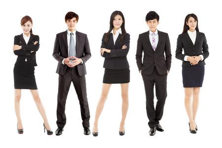 Equipe: succès asiatique jeune équipe d'affaires restant ensemble