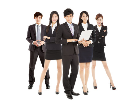 it background: smart businessman holding laptop with business team