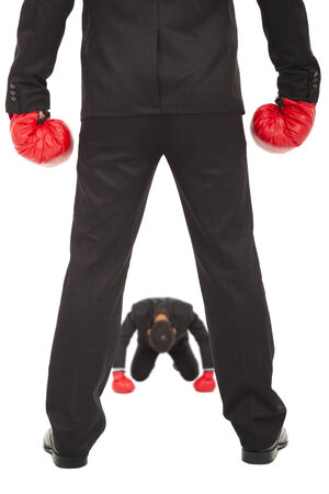 affaires abandonner la compétition avec des gants de boxe