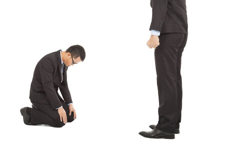 businessman apologize to boss for made some mistakes