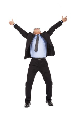 energetic people: happy businessman raise arms up to celebrate