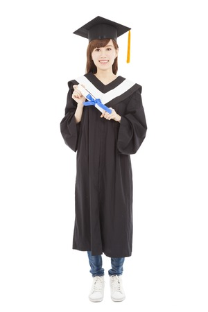full length Young graduate girl student with diploma photo