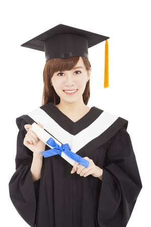 smiling Young graduate girl student with diploma photo