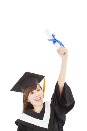 Young graduate girl student holding diploma and hand up photo