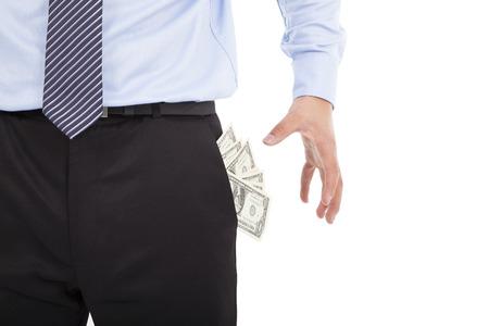 bolsa dinero: Hombre de negocios agarrando dinero de bolsillo en blanco