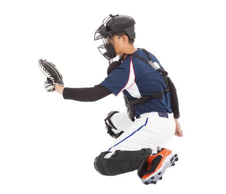 catcher: Baseball Player, Catcher,  kneeling gesture  to catching Stock Photo