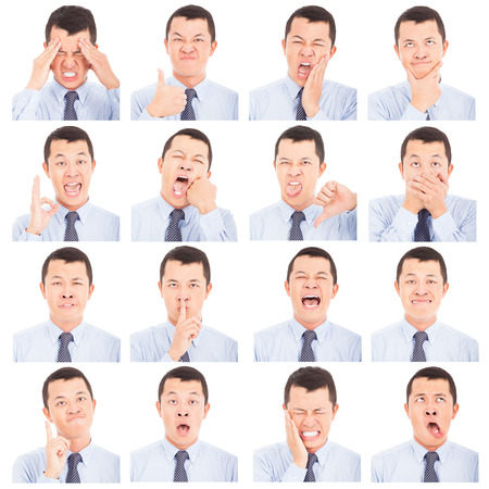 anguished: asian young man face expressions composite isolated on white