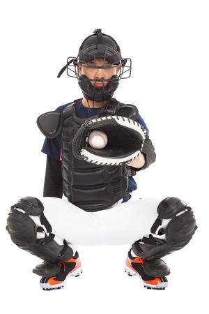 baseball glove: Jugador de b�isbol, colector, atrap� una pelota de b�isbol Foto de archivo