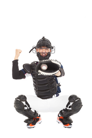 catcher: Baseball Player, Catcher, showing signal ,  strike out  Stock Photo