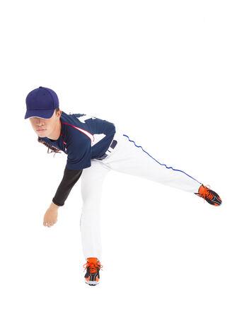 baseball player pitcher throwing ball  Stock Photo
