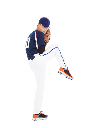 baseball player pitcher ready pose throwing ball  Imagens