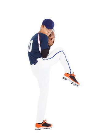 guante de beisbol: jugador de béisbol lanzador pose listo lanzar la bola Foto de archivo