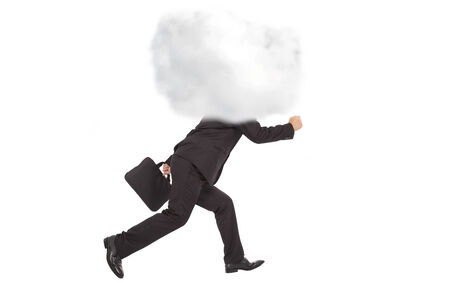 Young businessman running with head in the clouds Stock Photo - 25083352