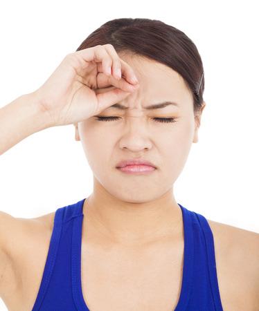 cabizbajo: chica guapa decepcionado con tocar la cabeza
