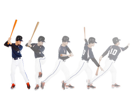 Baseball player from ready to hitting  ball , all movements  Stock Photo