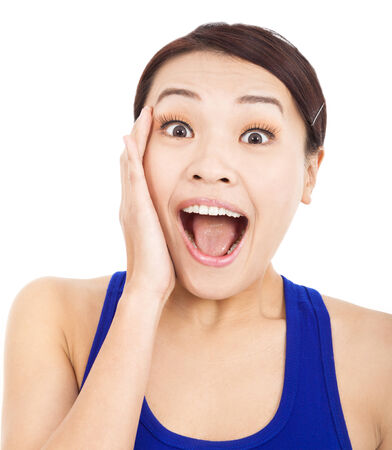 Pretty asian woman feel surprised facial expression photo
