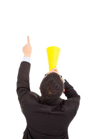 businessman forward pointing with cheering megaphone  photo
