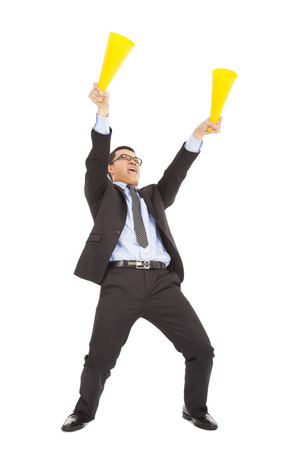 Businessman  encouraging and inspiring with cheering megaphone photo
