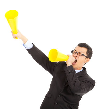 asian businessman  encouraging with cheering megaphone photo