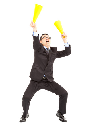Businessman  encouraging with cheering megaphone photo