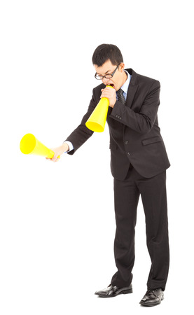 businessman blaming with megaphone  photo