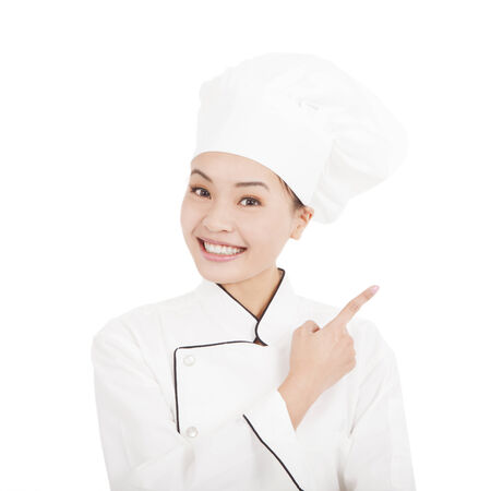 thump: Asian young woman chef pointing direction